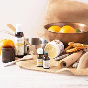 Bottles of Aura Cacia Organic Essential Oil Produtcs and Citrus