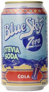 A can of Blue Sky Natural Soda, Cola Flavored