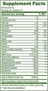 Green Foods Organic Matcha Green Tea Nutrition Label