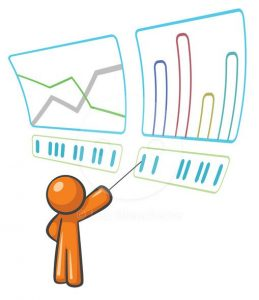 A clipart showing the act of data analysis