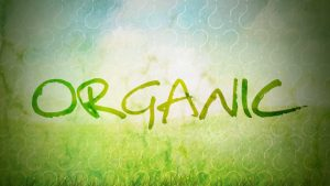 The word Organic is on a blue and green background. Question marks surround the word.