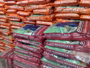 Shelves of organic dog food.