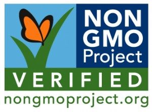 The Non GMO Project Verified logo, with an orange butterfly sitting on a green check mark.