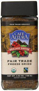 Cafe Altura Organic Freeze Dried Instant coffee.