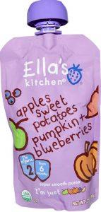 Ella`s Kitchen Organic Baby Food: Sweet Potatoes, Pumpkin, Apples, Blueberries.