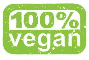 "A green label that says ""100% vegan."" Vegans only eat plant-based food."