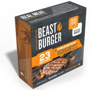 Beyond Meat Beast Burgers, made from vegan pea protein.