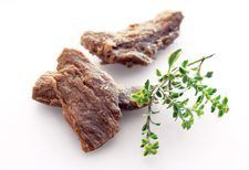 Gardein Beefless Strips. They look like strips of steak, and have the texture of steak. But no cattle were harmed to make this beefless food!