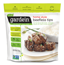 Gardein Homestyle Beefless Tips. Completely vegan---made from soy protein.