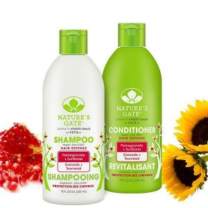 Instagram post @naturesgateofficial pomegranate and sunflower shampoo and conditioner