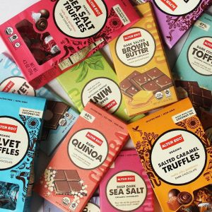 Rainbow assortment of Alter Eco Foods chocolate products
