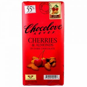 Chocolove Cherries and Almonds Dark Chocolate. 55% Cacao.
