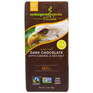 Endangered Species Dark Chocolate with Caramel and Sea Salt bar (with bald eagle).