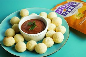 Brazi Bites cheese bread balls with homemade marinara sauce.