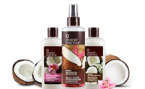 desert essence coconut hair products, including heat protector, with coconuts