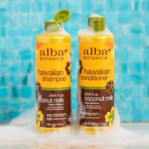 alba botanica wholesale shampoo and conditioner products with bubbly background