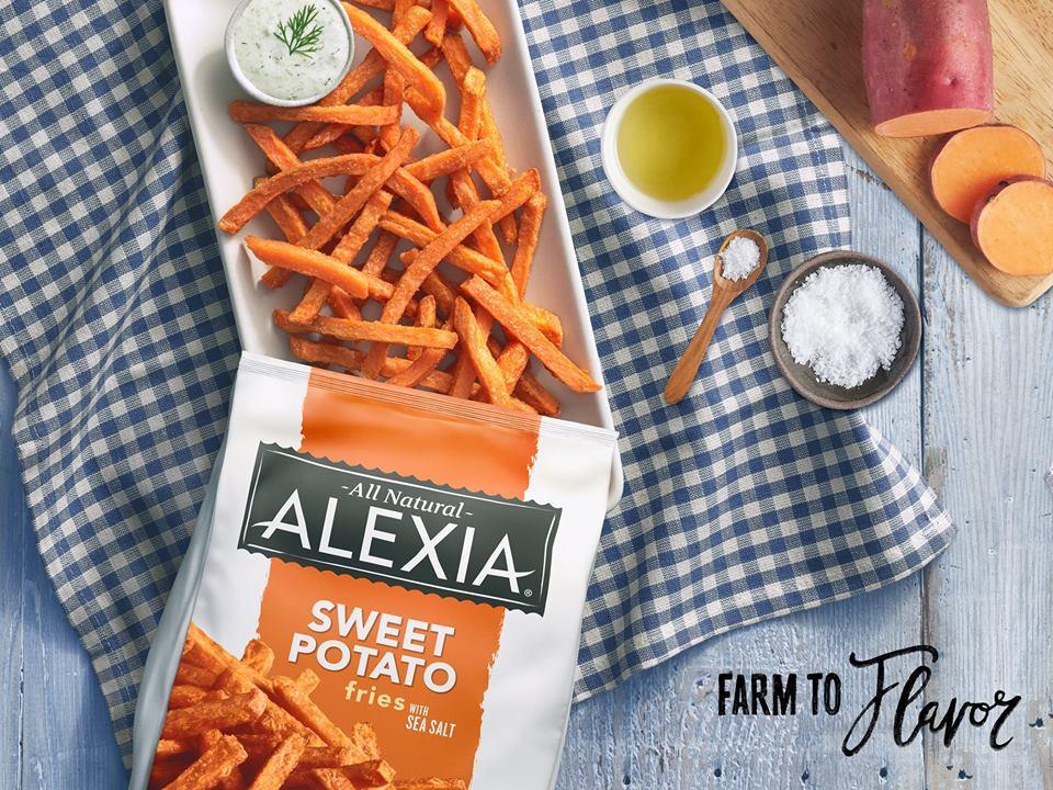 Alexia sweet potato fries on rectangular plate (with bag)