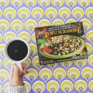 Amy's Tofu Scramble with coffee