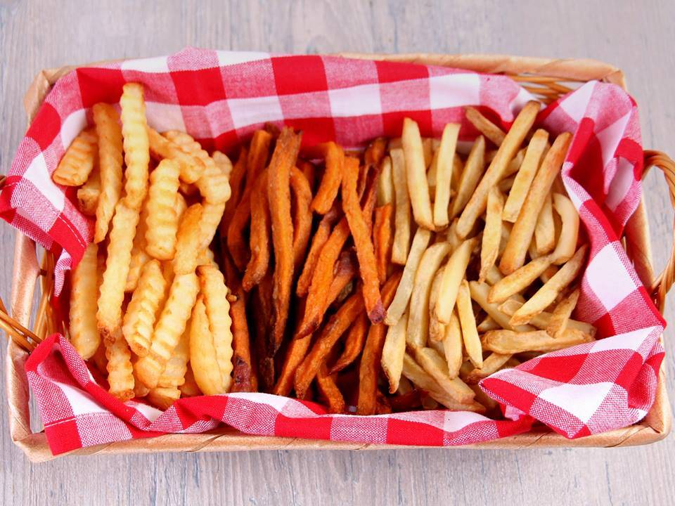 crinkle cut, sweet potato and straight cut fries