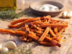 Sweet potato fries with garlic and minced thyme