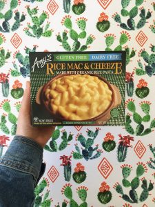 Amy's vegan mac and cheeze on a cactus background