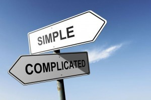 signs that read simple and complicated