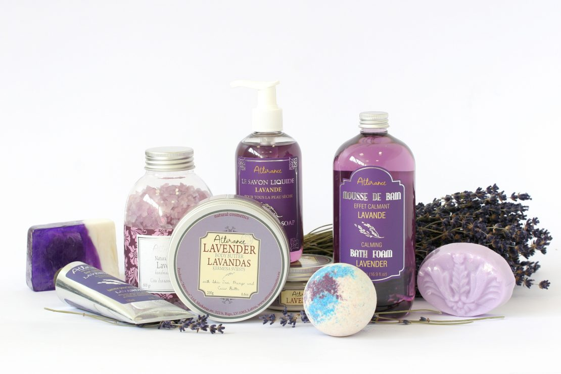 Various items made with lavender oil