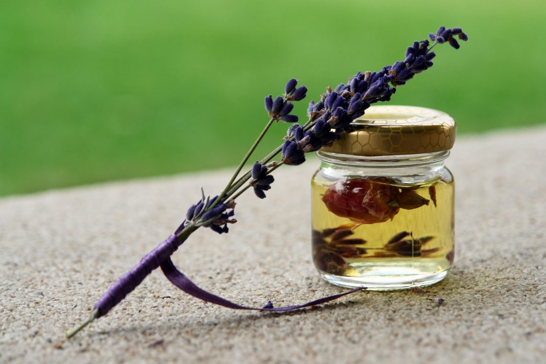 Essential oil infused with lavender flowers