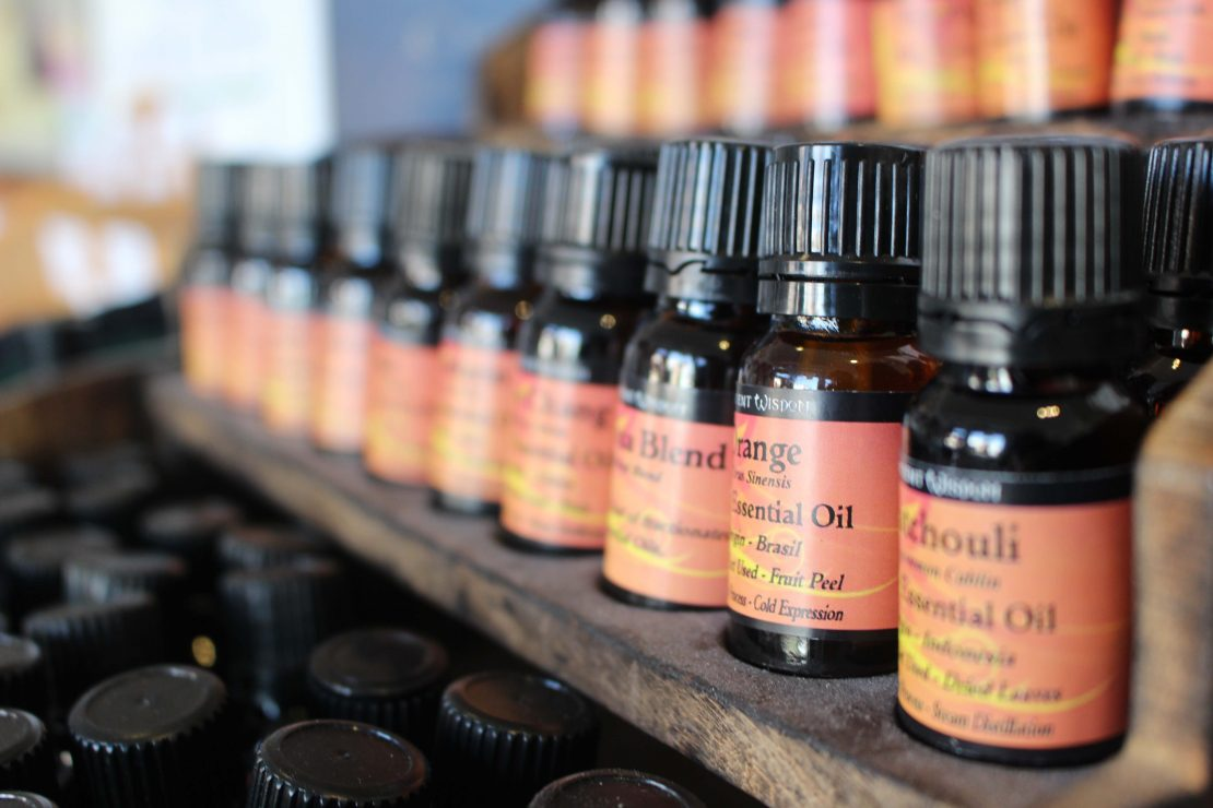 Row of bottles of various essential oils