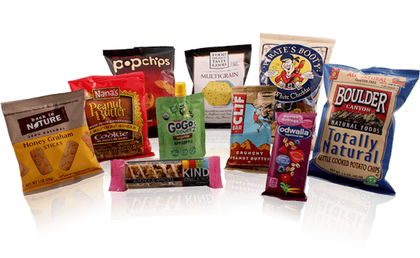 variety of healthy packaged snacks