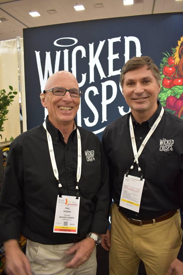 Phil Kosak (President, Wicked Crisps, left) and Jim Buck (Vice President, Wicked Crisps, right) at Expo West 2018
