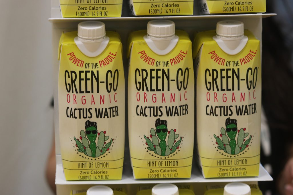 Close-up of Green-Go Cactus Water packaging at Expo West 2018