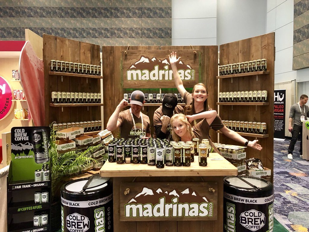Madrinas Coffee at Natural Products Expo West 2018 with co-founder and vice president Alex Davis, from their Twitter account