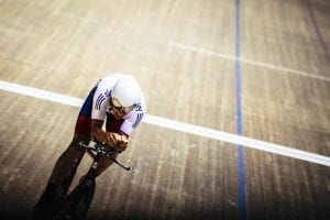 Active man riding bike.