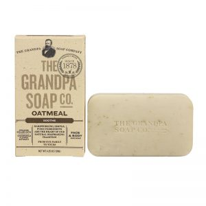 Bar of organic soap made with oatmeal