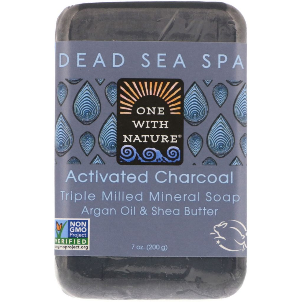 Bar of organic wholesale soap made with activated charcoal