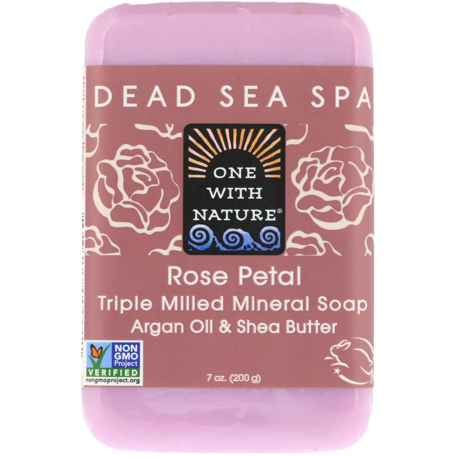 Bar of natural soap made with rose petals