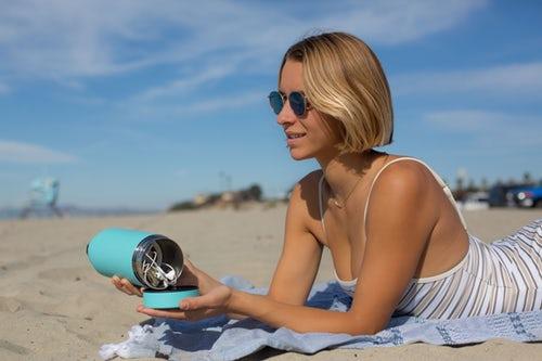 Woman tanning in the sun.