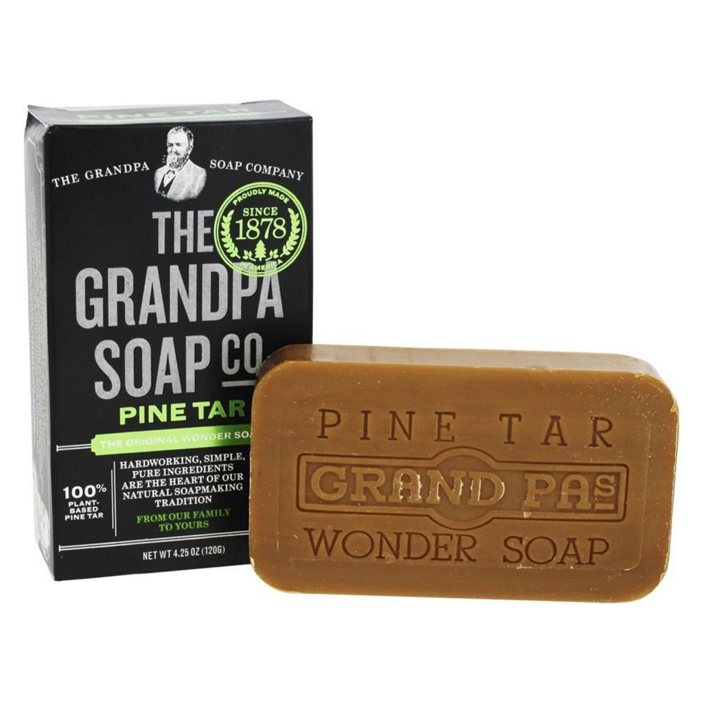 Bar of natural soap made with pine tar