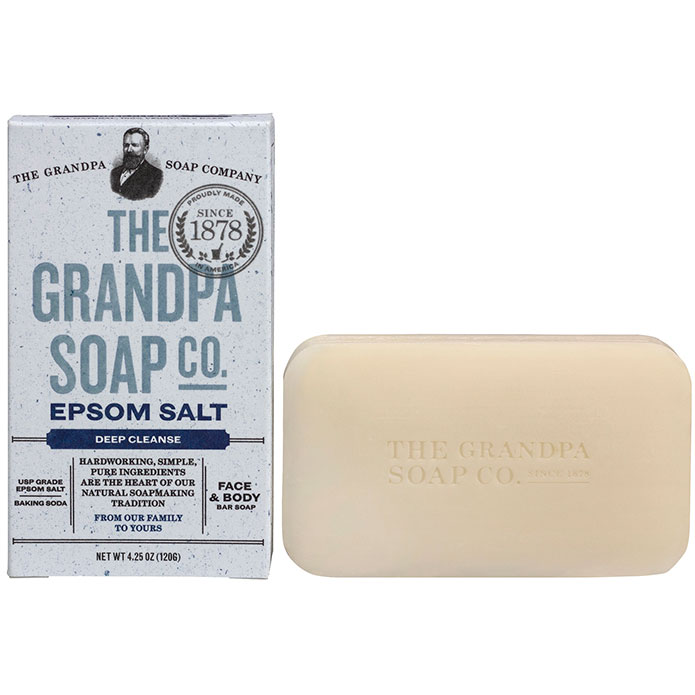 Bar of organic and natural soap with epsom salt