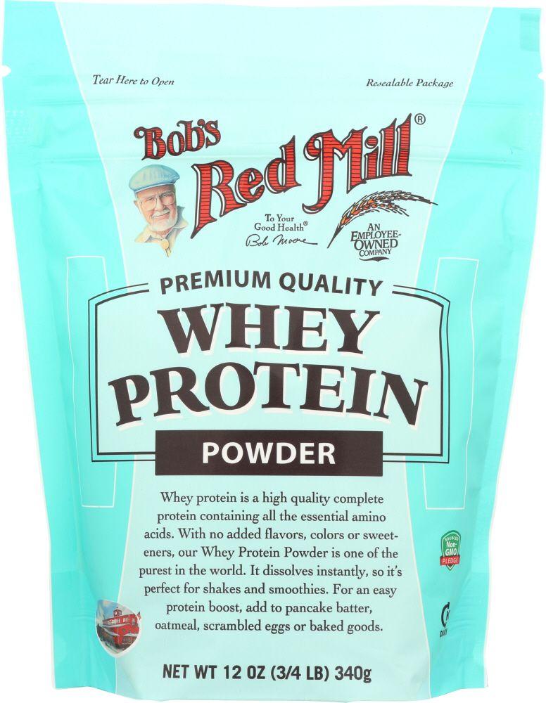 Bag of bulk whey protein powder