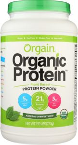 Bottle of plant-based pea protein powder