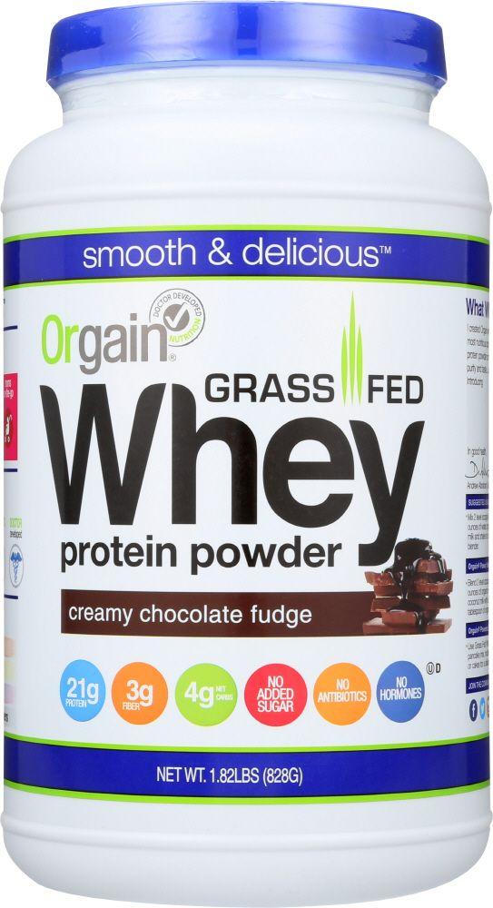 Bottle of grass fed whey protein powder