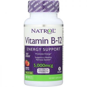 NATROL Vitamin B-12 Fast Dissolve Strawberry 5000 Mcg