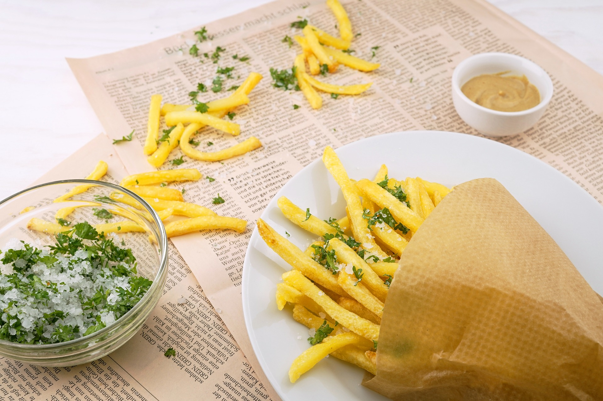 French fries with herbs