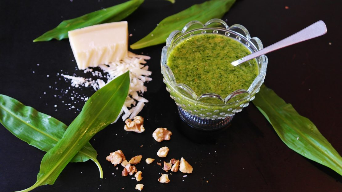 Pesto sauce with basil and garlic