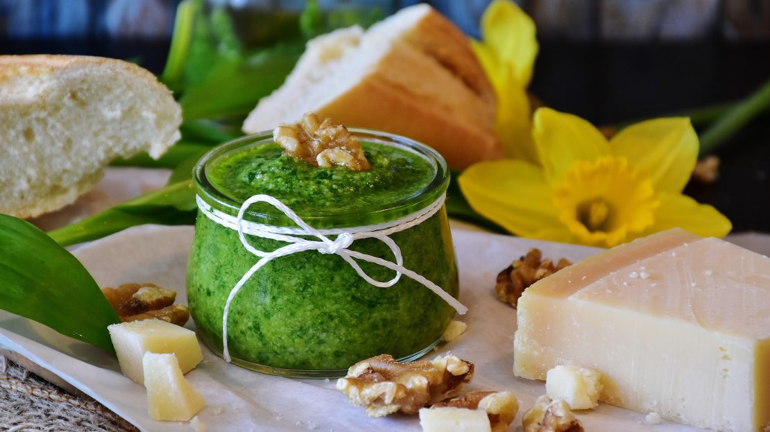 Pesto sauce with basil