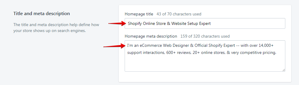 Add Titles and Meta Description Tags for Shopify SEO