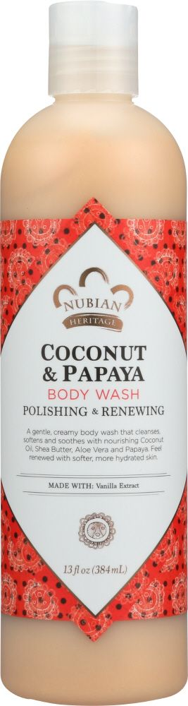 Nubian Heritage coconut body oil is combined with papaya enzymes