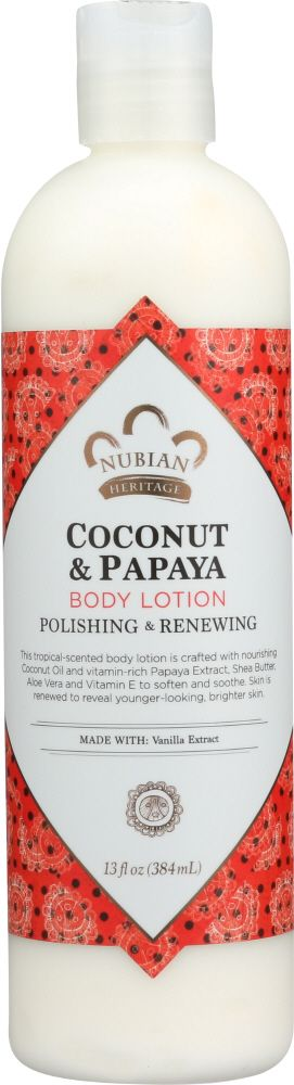 Nubian Heritage coconut body oil is available as body wash or lotion